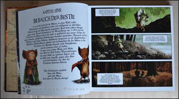 Auszug aus Kapitel 1; der Text auf der linken Seite ist ein Einleitungstext, der vor jedem Kapitel kommt und zusammenfasst was passieren wird
