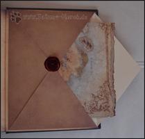 Der Umschlag mit der Karte, auf dem hinteren Buchdeckel