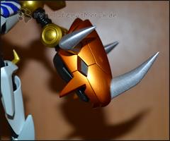 Detailaufnahme des WarGreymon-Kopfes