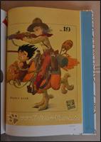 Eines der ersten Artworks zeigt Son-Goku und Bulma auf einem straußenartigen Vogel reiten