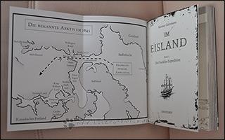 Die Umschlagklappen der Graphic Novel sind mit Karten der Expedition gespickt.