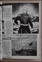 Ein semi-realistisch dargestellter Sir John Franklin und detailiierte Schiffe auf eisiger See.