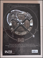 Die Rückseite des Comics zieren Schild, Axt und Hammer von Thor