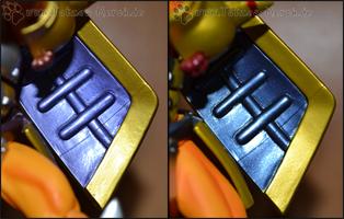 Die Innenseite des Brave Shield ist bei der alten Version (links) eher Lila als Blau ;)
