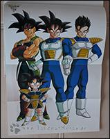 Goku mit seinem Vater Bardock und seinen beiden Söhnen Gohan und Goten