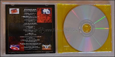 """Trackliste und unterseite der CD von """"Evangelion -The Day of Second Impact-"""""""