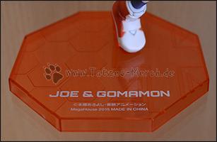Die Bodenplatte von Joe und Gomamon