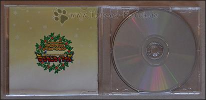Die Rückseite des Booklets und die Unterseite der CD