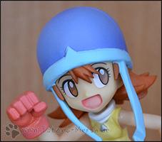 Detailaufnahme von Soras erstem Gesicht