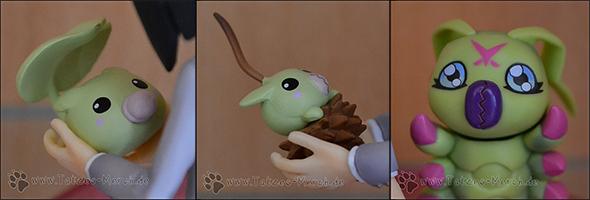 Detailaufnahme von Leafmon, Minomon und Wormmon